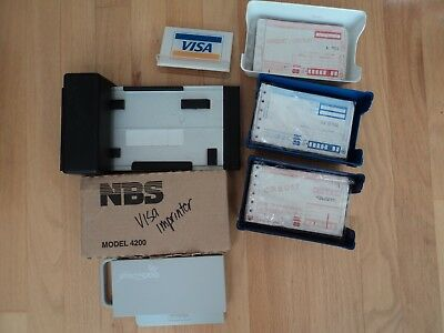 Vintage NBS  Credit Card Imprinter -VISA forms & Swiper