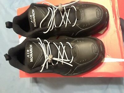 Nike AIR MONARCH IV Mens Black 001 Comfort Lace Up Running Training Shoes 9.5E
