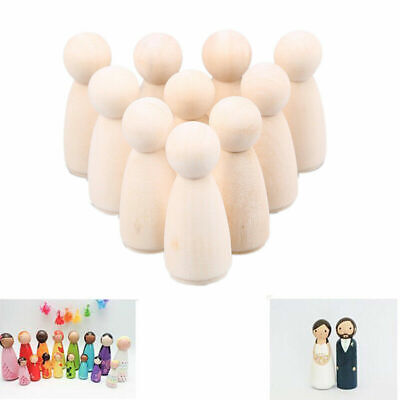 10Pcs 35/43/55/65mm Natural Wooden People Peg Dolls Wedding Cake Toppers Toys