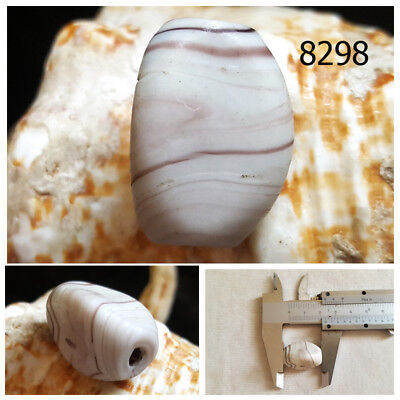 RARE Antique Carved Bactrian Agate Bicone Bead #8298
