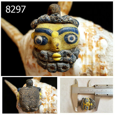 Old Phoenician Yellow Mask Face Head Mosaic Glass Bead Pendant #8297