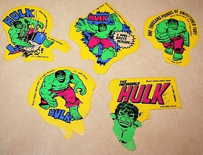 Set of 5 Original Stickers Marvel Comics THE INCREDIBLE HULK dated 1977 unused