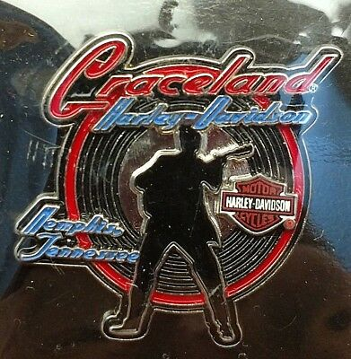 Graceland Harley Davidson Of Memphis Tn. W/ Bar & Shield & Elvis Silhouette New