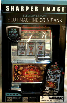 Sharper Image Electronic Casino Slot Machine Coin Bank - New in Box