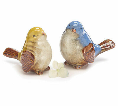Burton And Burton Yellow/Blue Ceramic Bird Figurine Pair