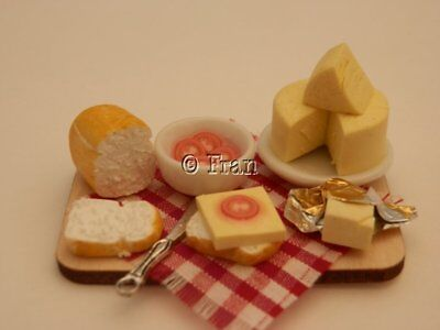 Dolls house food: Making  cheese & tomato sandwiches prep board  -By Fran