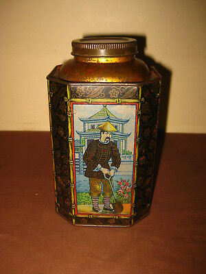 ANTIQUE PORTUGAL EARLY CHINESE TEA THÉ TEE STUNNING LITHO TIN BOX CAN 1900s RARE