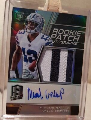 2017-18 Spectra Michael Gallup Cowboys Rookie Patch Auto Signatures /99
