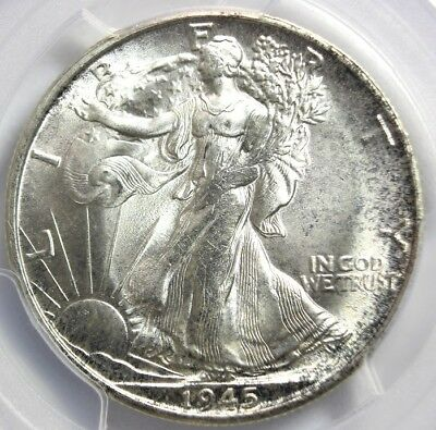 1945-S, Walking Liberty Half (Wlh), Pcgs Ms65+ Brilliant Coin!!