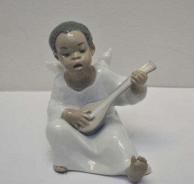Lladro #4537 Seated Angel Playing Lute - Black Legacy Collection Figurine