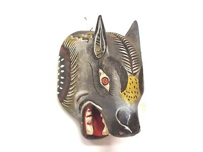 Large Wooden Wolf Mask - Mexican Folk Art Guerrero - Wall Decor
