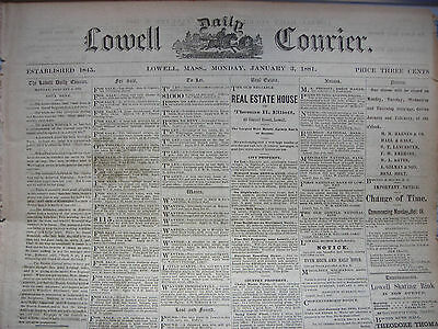 Lowell Daily Courier (MA) newspaper January 3 - 7, 1881, five issues