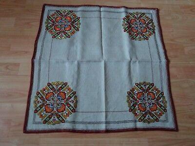 """Antique Vintage Handmade Linen Tablecloth Hand Embroidery Ivory Square 27"""""""