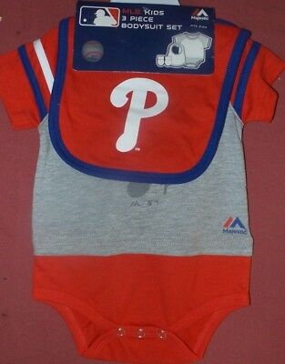 4aa2c07bfb3 MLB Philadelphia Phillies Infant Baby Creepers 3 piece Bodysuits 6-9 Months