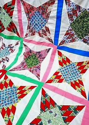 Vintage 1950's STAR Cotton Feedsack Fabric QUILT TOP 78 x 58 ~To Finish