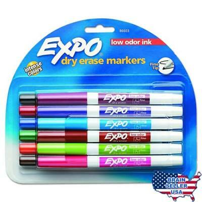 EXPO 86603 Low Odor Dry Erase Marker, Fine Point, Assorted, Pack of 12, New