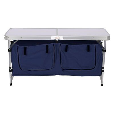 Finether Height Adjustable Folding Table with Large 2-Compartment Storage Bag...