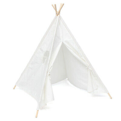 [NEW] 120x120x150cm White Canvas Kids Teepee Children Home Game Toy Play Tent Cu