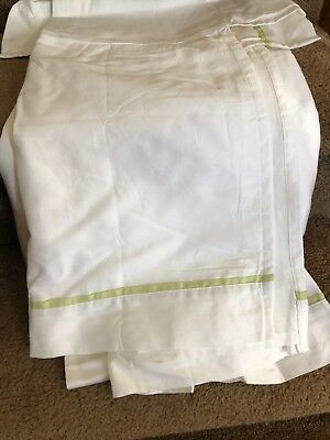 Pottery Barn Kids ABC Baby Crib Bed Skirt ~ White with Light Green Trim