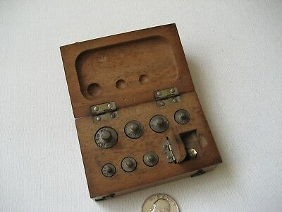 Vintage Small Brass Scale Metric Weights in Solid Wood Box - Apothecary?