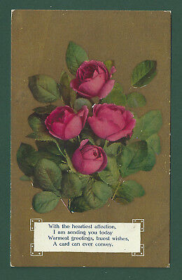 Greetings Pink Roses Vintage Used Postcard 1909 Postmark