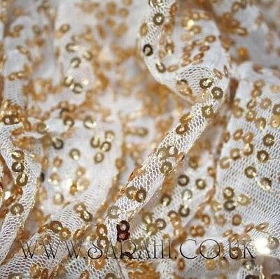 WHITE GOLD COSTUME,DANCE,CRAFT,Sequin Fabric Novelty Sparkly,Decoration,wedding