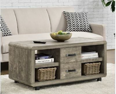Coffee Table Gray Driftwood Finish Drawers Storage Living