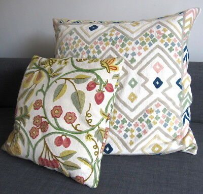 2 x large Vintage Cushions Embroidery Crewel Work feather pads Slouchy Boho