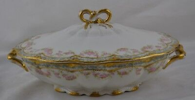 Haviland Limoges Schleiger 271A Double Gold Pink Rose Swags Oval Covered Dish