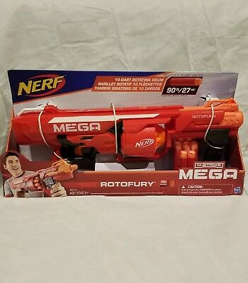 Nerf N-Strike Mega RotoFury Blaster Toy Dart Gun New in Box! w/10 Darts, 90ft