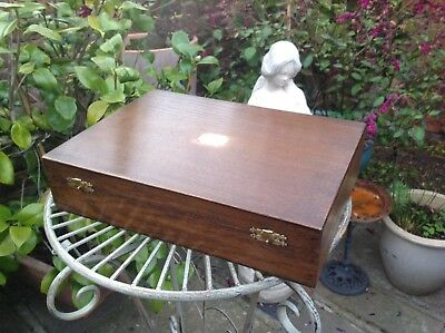 Antique Vintage Wooden Cutlery Canteen Box With Brass Fittings