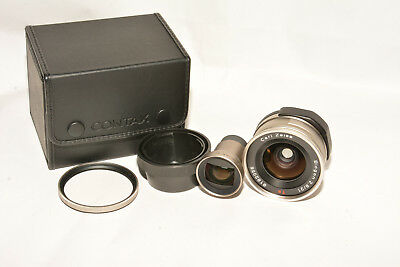 CARL ZEISS BIOGON T 21mm, f2.8 LENS W/FINDER IN CASE; FOR CONTAX G CAMERA, MINT