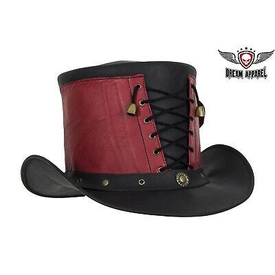 661d19fb447 Steampunk Red and Black Geniune Leather Deadman Top Hat With Front Laces