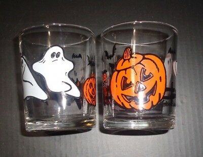 Vintage Lot of 2 Halloween Glass Votive Candle Holders Ghost Cat Witch Owl