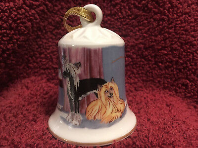 Porcelain Winter Design Bell with Dog - Chinese Crested