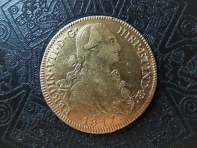 CHILE as Spanish colonial, 1817 SO 8 Escudos, Ferdinand VII