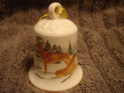 Porcelain Winter Design Bell with Dog - Rhodesian Ridgeback