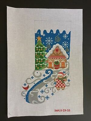 Danji Designs Hand-painted Needlepoint Canvas Colorful Gingerbread Girl Stocking