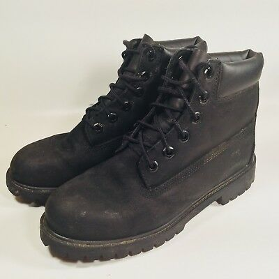 "TIMBERLAND 6""Basic Waterproof Boots Black Padded Collar Boys 5 MSRP $129"