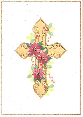 Papyrus Christmas Cards.Papyrus Christmas Card Nip Msrp 7 95 Poinsettia Cross Card H2