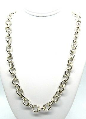 """925 STERLING SILVER CHUNKY CHAIN TOGGLE HEART 16"""" NECKLACE 53g"""