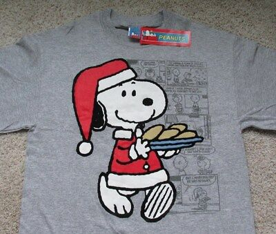 peanuts snoopy christmas t shirt ss santa cookies gray mens medium - Snoopy Christmas Shirt