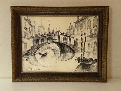 Signed Framed Modernist Charcoal Drawing of Venice, by Peggy Grier, 1971