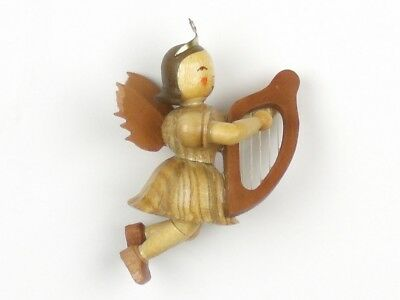 ERZGEBIRGE Handmade WOOD ANGEL With Lyre CHRISTMAS ORNAMENT Blank Germany