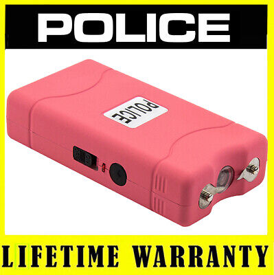 POLICE Pink Mini 800 30 Billion Max Volt Stun Gun LED Flashlight Rechargeable