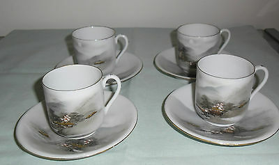 Handpainted Demitasse Coffee Cups & Saucers : Eggshell Porcelain  Kutani Japan