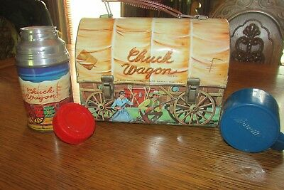 Vintage 1958 Chuck Wagon Western Dome Metal Tin Lunchbox & Thermos by Aladdin