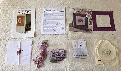 Bucilla Silk ribbon embroidery kit February Merrilyn Heazlewood book 3 roses