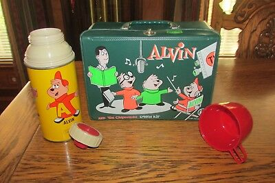 1963 Alvin and the Chipmunks Vinyl Lunch Box Kit with Metal Thermos King-Seeley