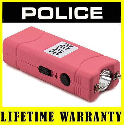 POLICE PINK Micro Stun Gun Rechargeable 801 With LED Flashlight + Taser Case